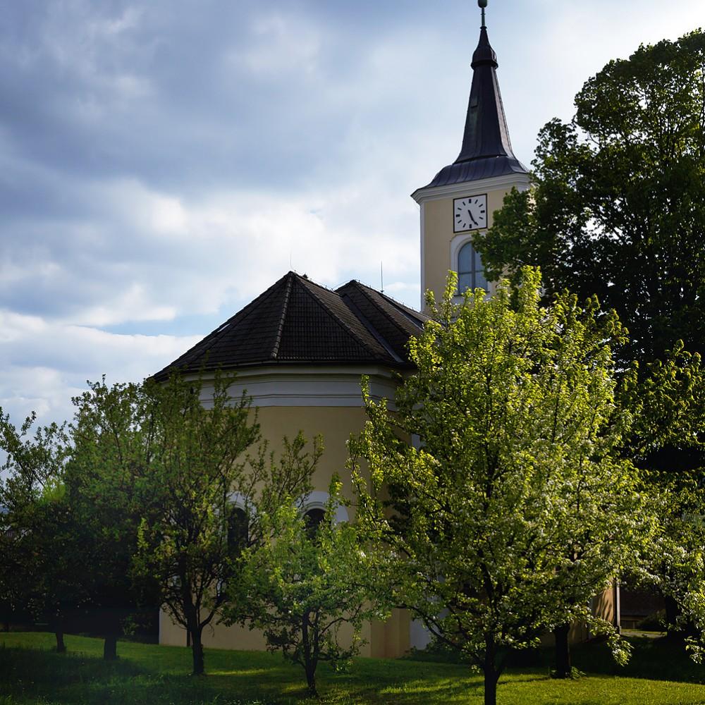 Olešnice - evangelický kostel, jarní foto s rozkvetlými stromy