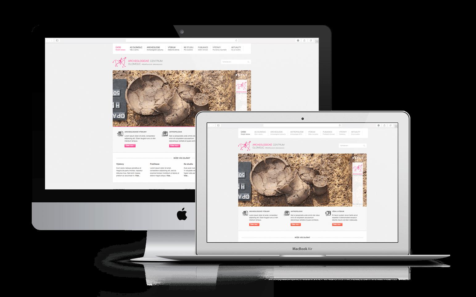 Web pro Archeo centrum Olomouc